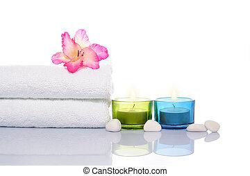 gladiola, velas, toalha, e, pedras brancas