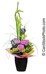 gladiolo, ramo, flores, orquídeas, aislado, arreglo, centro de mesa, fondo., floral, peón, florero, blanco, closeup.