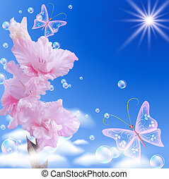 Gladiolus and butterflies - Sky, gladiolus, clouds and...
