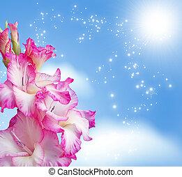 Gladiolus blossom - Gladiolus blossom on the sky background...