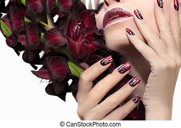 gladiolus., borgoña, manicura