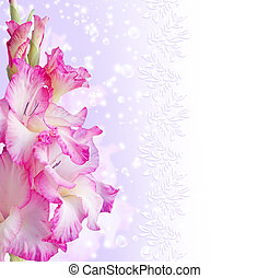 Gladiolus - Card with gladiolas, bubbles and stars