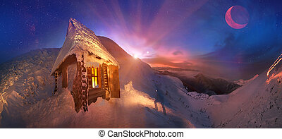Gladly meet winter holidays in the mountains, on the background of blue mountains, red dawn, near the safe haven-alpine rescuers cabin atop Hoverla, Ukraine, and in the morning to climb to a height of Montenegro