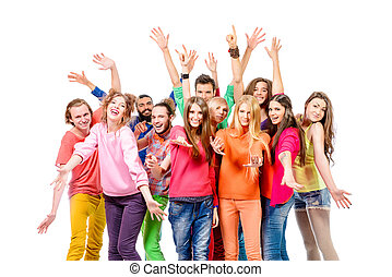 gladness - Large group of cheerful young people. Isolated ...