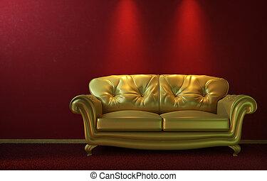 glam, arany-, dívány, képben látható, piros