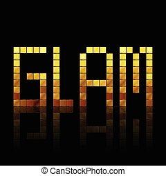 glam, -, vector, ilustración, de, brillante, oro, cartas