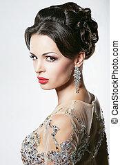 glamorös, kvinna, prosperity., luxury., diamant, prålig, örhängen