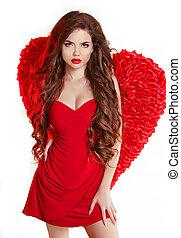 glamorös, skönhet, ängel, hälsosam, länge, vågig, flicka, påskyndar, röd