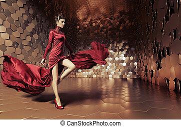 glamorös, vågig, klänning, kvinna