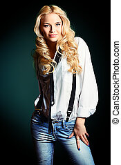 glamor - Beautiful blonde woman wearing white shirt and ...