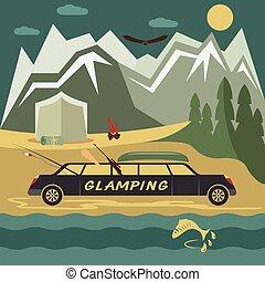 glamor camping flat design landscape with limousine