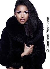 glamor closeup portrait of beautiful sexy black young woman...