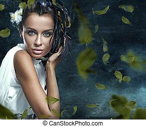 glamor, fantasia, jovem, beleza, retrato