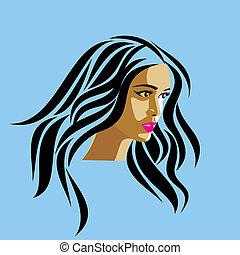 glamor girl face on blue background
