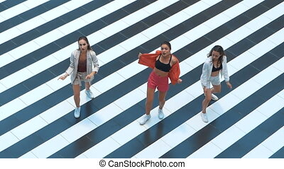 Glamor girls dancing on a striped background top view. Girl dressed in stylish clothes