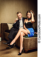 glamor love - Beautiful gorgeous couple in elegant evening...
