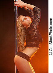 Glamor woman in black lingerie - Portrait of a glamor woman...