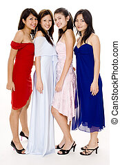 Glamorous #4 - Four young women in evening wear