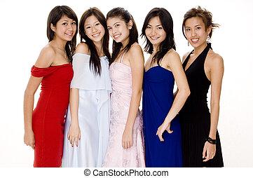 Glamorous #5 - Five beautiful young women in evening dresses