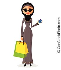 Glamorous arab woman standing in her traditional dress holding shopping bags flat cartoon vector illustration. Eps10. Isolated on a white background.