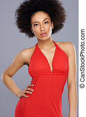 Glamorous beautiful African American woman with a shapely ...