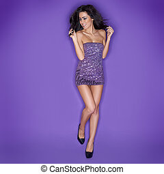 Glamorous beautiful woman dancing - Glamorous beautiful...