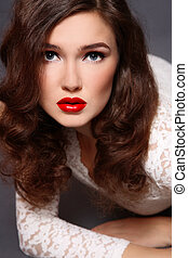 Glamorous beauty - Portrait of young beautiful girl with...