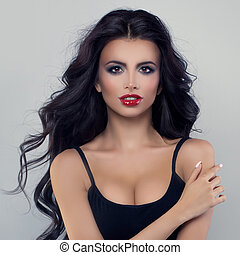 Glamorous Brunette Woman with Black Curly Hair