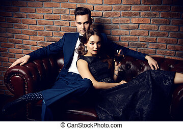 glamorous couple - Beautiful gorgeous couple in elegant...