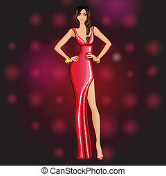 Glamorous dancing party girl - Glamorous dressed up for a...