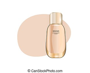 Glamorous foundation glass bottle Mock-up 3D Realistic Vector illustration