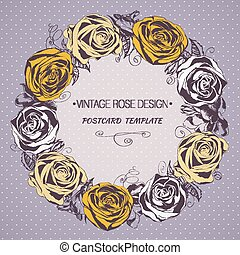 Glamorous frame with blooming roses. Hand drawing. Vector.