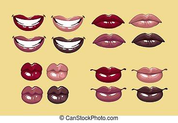 glamorous glossy female lips