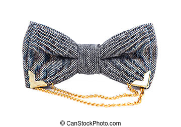 glamorous gray with a gold chain bow tie isolated on white background