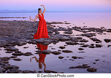 High Fashion Woman on the Shores of the Salton Sea