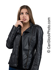 Glamorous hot young woman in a leather jacket, isolated on white background. Street, rock fashion style.