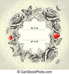 Glamorous lace frame with blooming roses, flying...