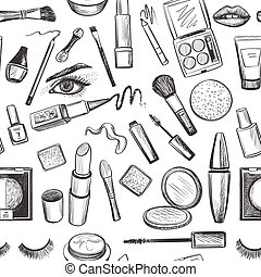 Glamorous make-up seamless pattern with mascara, lipstick,...