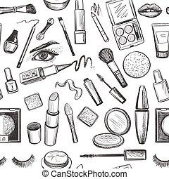 Glamorous make-up seamless pattern with mascara, lipstick, ...