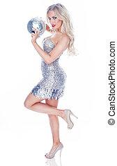 Glamorous party girl - Glamorous blonde party girl posing on...