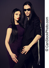 glamorous people - Fashion shot of a beautiful sexual couple...