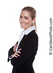 Glamorous Positive Smiling Businesswoman standing sideways against white smiling in to camera.