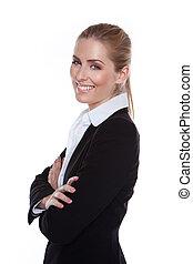 Glamorous Positive Smiling Businesswoman standing sideways...