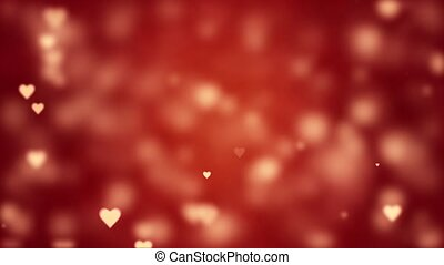 Glamorous romantic background with red hearts. Valentine's card. Soft focus and depth of field. Symbol of love. 3D animation.