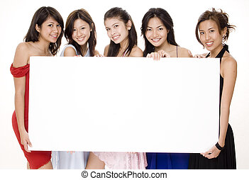 Glamorous Sign #1 - Five attractive asian women holding a...
