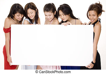 Glamorous Sign #2 - Five attractive asian women look at the...