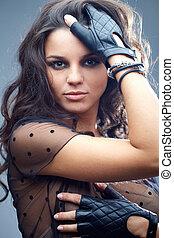 Glamorous style - Portrait of a beautiful glamorous brunette