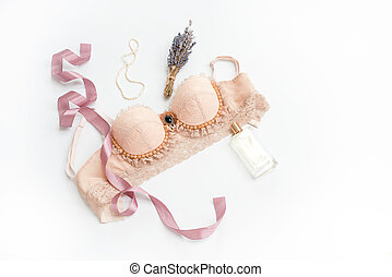 Glamorous stylish sexy lace lingerie with woman accessories ...