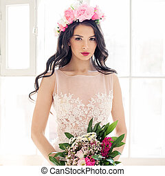 Glamorous Woman Fashion Model with Makeup and Flowers