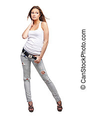Glamorous woman - Glamorous young woman in shirt and jeans ...